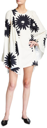 Stella McCartney Floral-Print Long-Sleeve Satin Cape Dress