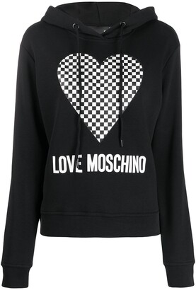 Love Moschino Checkered Heart-Print Hooded Sweatshirt