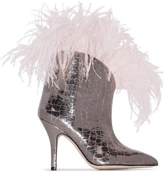 Paris Texas crocodile effect 90 feather trim boots