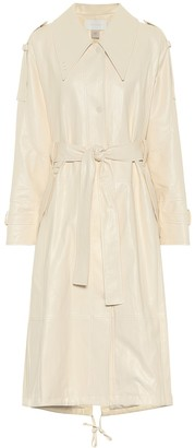 Low Classic Faux-leather trench coat