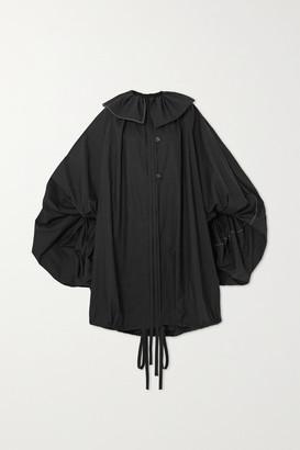 Loewe Oversized Tie-detailed Gathered Cotton-poplin Coat - Black