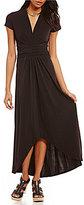 MICHAEL Michael Kors Faux-Wrap Matte Jersey Hi-Low Maxi Dress