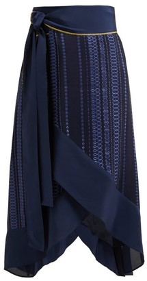 ZEUS + DIONE Muses Striped-jacquard Silk-blend Wrap Skirt - Navy