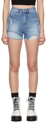 Sjyp Blue Denim Layered Sewn Shorts
