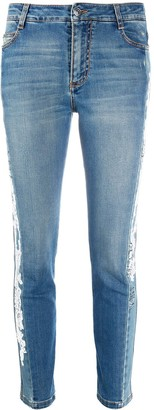 Ermanno Scervino Lace-Side Cropped Skinny Jeans