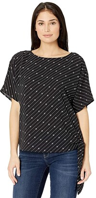 MICHAEL Michael Kors Bias Stripe Logo Tie Top (Black/White) Women's Clothing