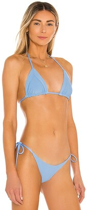 Frankie's Bikinis Sky Ribbed Bikini Top