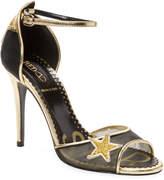 RED Valentino Women's Stars Leather High Heel Sandal