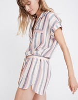 Madewell Flannel Bedtime Pajama Top in Lonnie Stripe