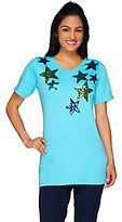 As Is Quacker Factory Star Spangled V-Neck Elbow Sleeve Tunic