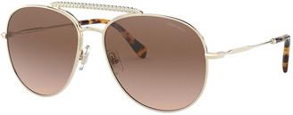 Miu Miu Mirrored Metal Aviator Sunglasses