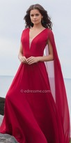 Faviana Chiffon Gathered V-neck with Cape Evening Dress