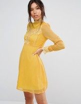 Boohoo Lace Trim A Line Skater Dress