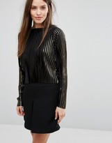 Vero Moda Metallic Pleat Crop Top