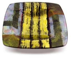"Jasmine Art Glass 16"" Square Platter with Glass Legs"