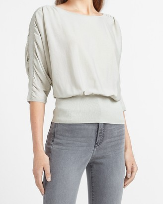 Express High Banded Bottom Ruched Sweater