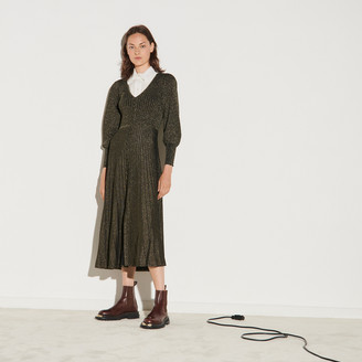 Sandro Long button-up dress in lurex knit