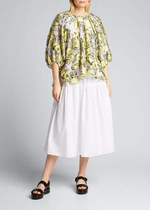 Cecilie Bahnsen Floral Print Silk Puff-Sleeve Blouse