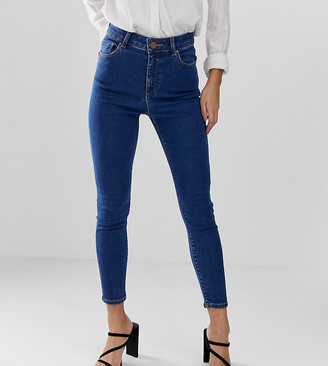 ASOS DESIGN Petite Ridley high waisted skinny jeans in flat blue wash