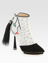 Nicholas Kirkwood Face Wool & Suede Ponytail-Detail Ankle Boots