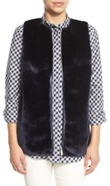 Lafayette 148 New York Kieran Zip-Front Faux-Fur Combo Vest, Galaxy Blue