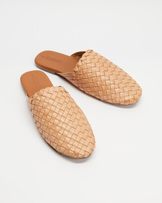 Human Premium - Women's Neutrals Brogues & Loafers - Barland Woven Leather Slides - Size 37 at The Iconic