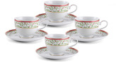 Mikasa Holiday Traditions Teacups and Saucers, Set of 4