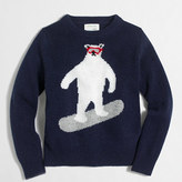 J.Crew Factory Boys' bear snowboarding intarsia sweater
