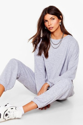 Nasty Gal Womens Work Together Sweater and Pleated Joggers Set - Grey Marl