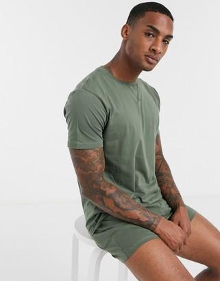 ASOS DESIGN lounge tshirt & short pyjama set in khaki