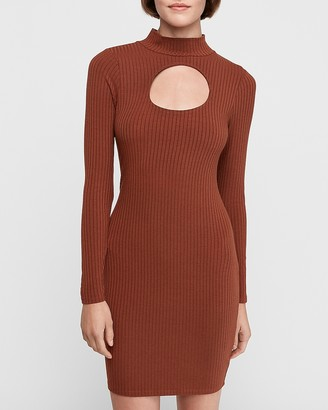 Express Ribbed Cut-Out Mock Neck Bodycon Dress