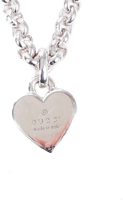 Gucci Silver Chain Link Heart Necklace