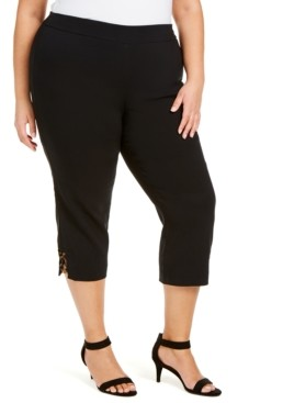 JM Collection Plus Size Embellished Pull-On Capri Pants, Created for Macy's