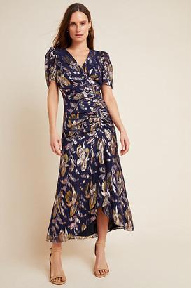 Shoshanna Chloe Petite Midi Dress By in Blue Size 0 p