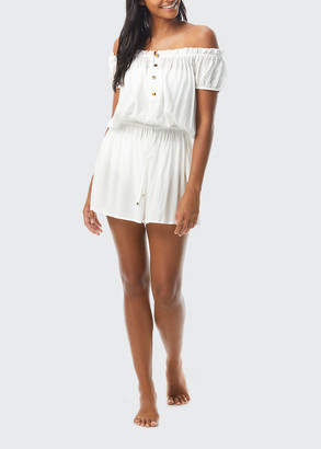 Kate Spade Sid Tort Off-the-Shoulder Romper