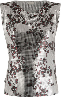 Paco Rabanne floral print metallic T-shirt