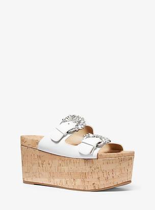 Michael Kors Frances Embellished Leather And Cork Wedge Sandal