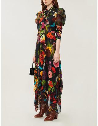 Alice + Olivia Karen floral-print satin midi dress