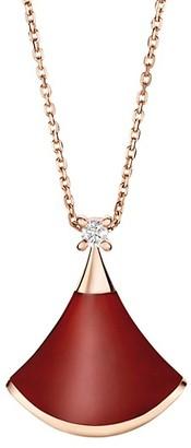 Bvlgari Divas' Dream 18K Rose Gold, Carnelian & Diamond Pendant Necklace