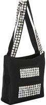 Global Elements Taffeta Silk Handbag w/ Detailed Shell Square Pockets & Shoulder Strap