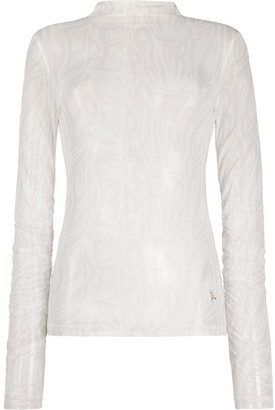 Patrizia Pepe Roll Neck Sheer Top