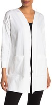Eileen Fisher Open Front Patch Pocket Jersey Cardigan (Petite)