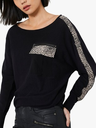 Mint Velvet Animal Print Strip Sleeve Jumper, Black