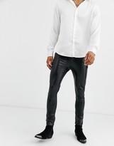 Asos Design DESIGN 'Cigarette' skinny coated leather look jeans in black crocodile