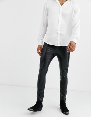 ASOS DESIGN 'Cigarette' skinny coated leather look jeans in black crocodile