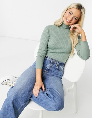 Pimkie cable knit roll neck in light green