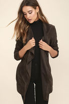 Lush Found a Love Charcoal Grey Suede Jacket