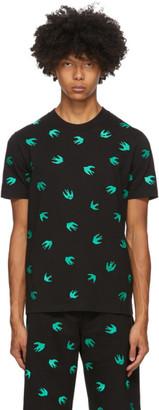 McQ Black Allover Swallows T-Shirt