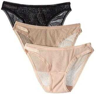 OnGossamer Gossamer Mesh Hip Bikini Solid 3-Pack 3202P3 (Champagne) Women's Underwear