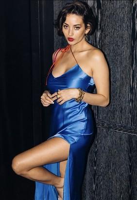 Singer22 Tie Strap Silk Slip Dress